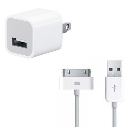 iPhone 30-Pin USB Cable & 5W Power Adapter Charger Bundle (Original)