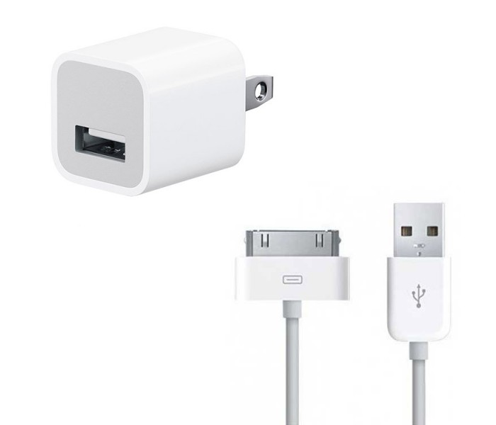 iPhone 30,Pin USB Cable \u0026 5W Power Adapter Charger Bundle (Original)